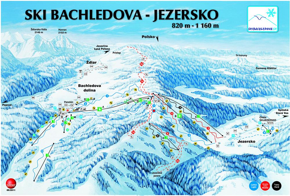 Mapa Ski Bachledova