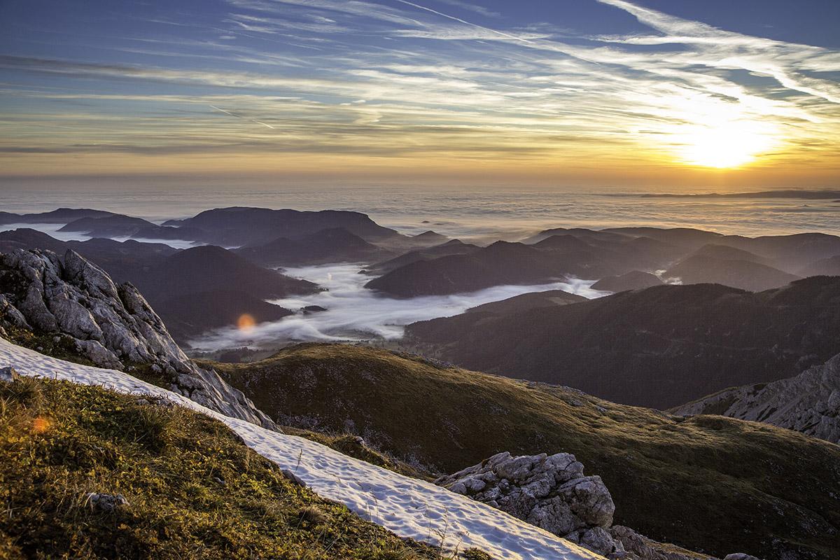 Výhľad zo Schneebergu, Viedenské Alpy. Foto: (c)Wieneralpen, Franz Zwickl