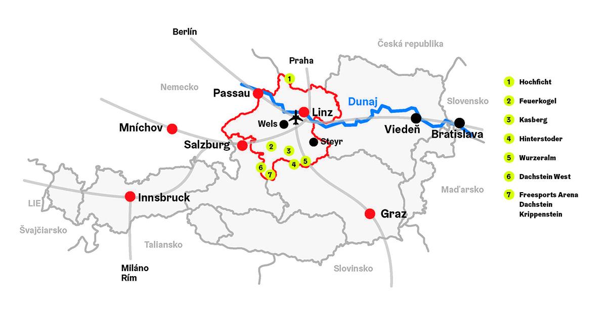 Mapa Horného Rakúska