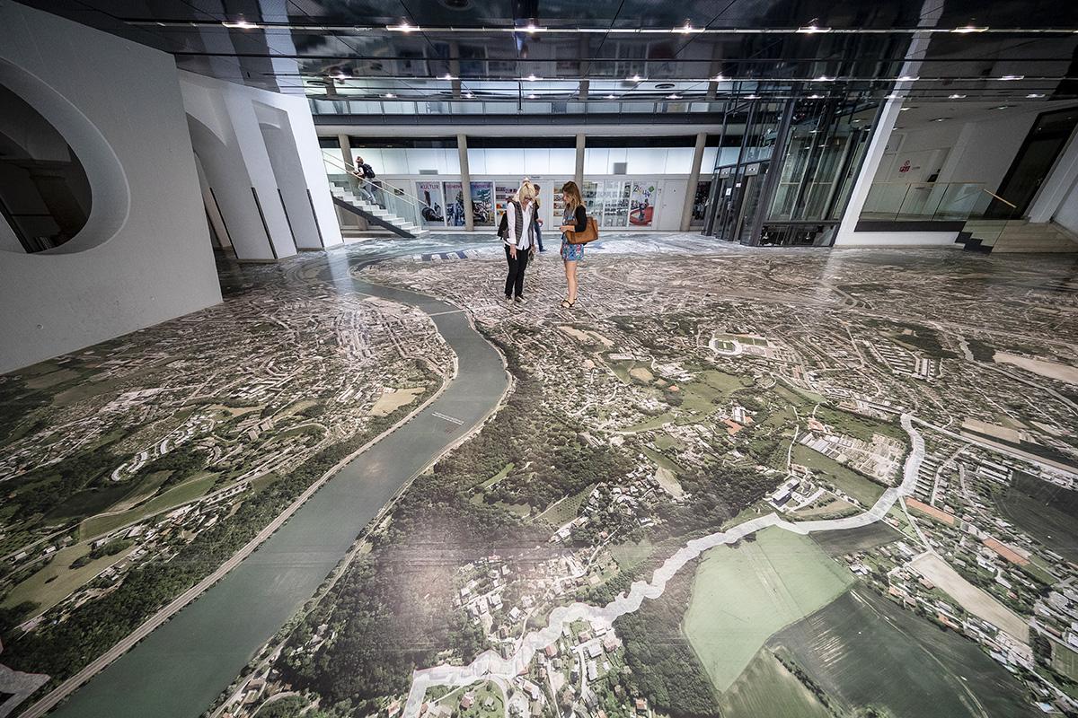 Obrovská mapa Linzu v starej radnici. Foto: Martin Matula