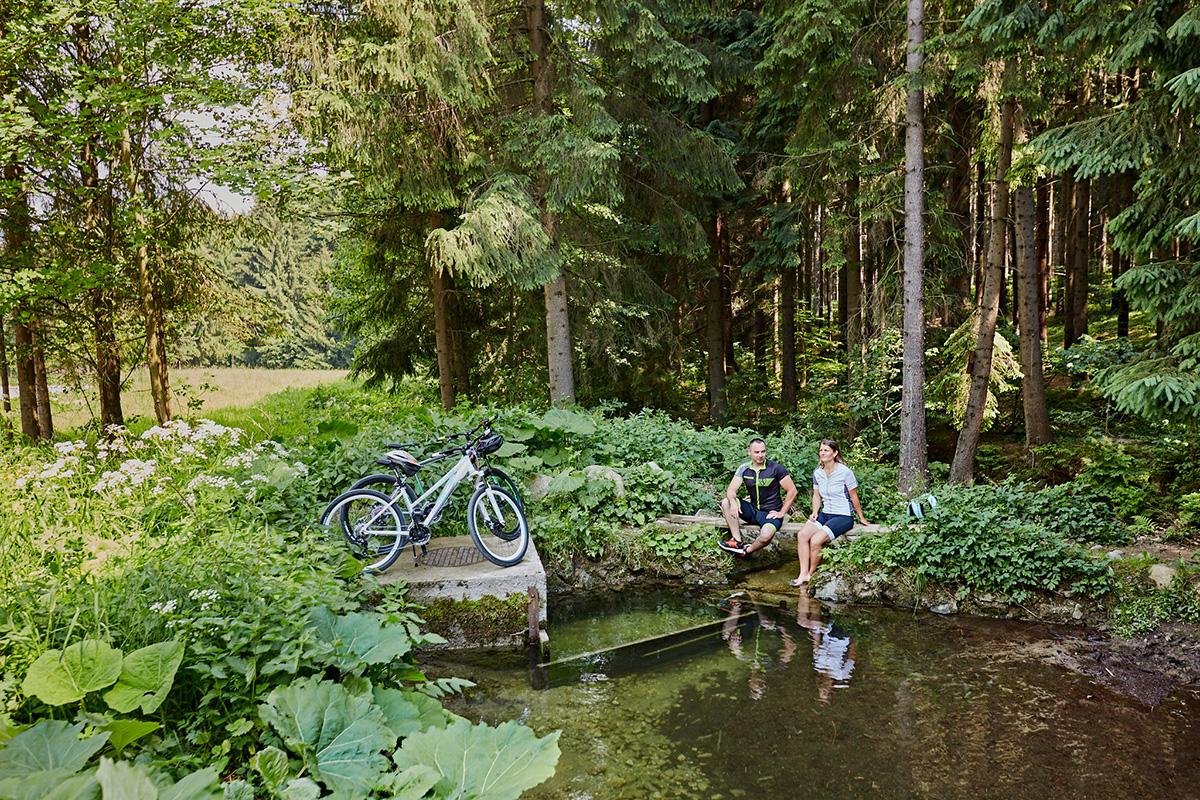 Jeden z mnohých krásnych potôčikov, tento pri križovatke cyklotrás. Foto: Peter Drežík