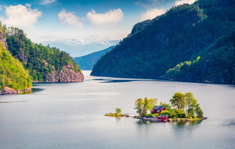 Lovrafjorden fjord v Nórsku, Severné more. Foto: Shutterstock