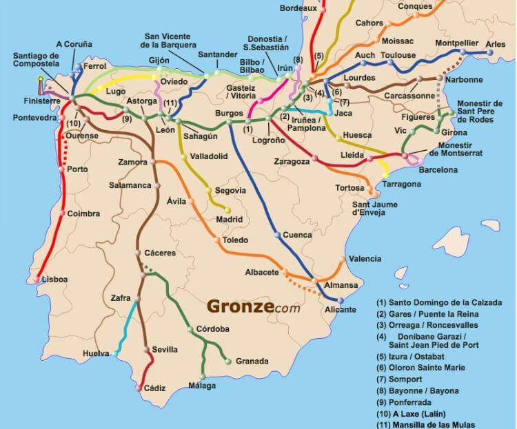 Caminos de Santiago. Mapa: www.gronze.com