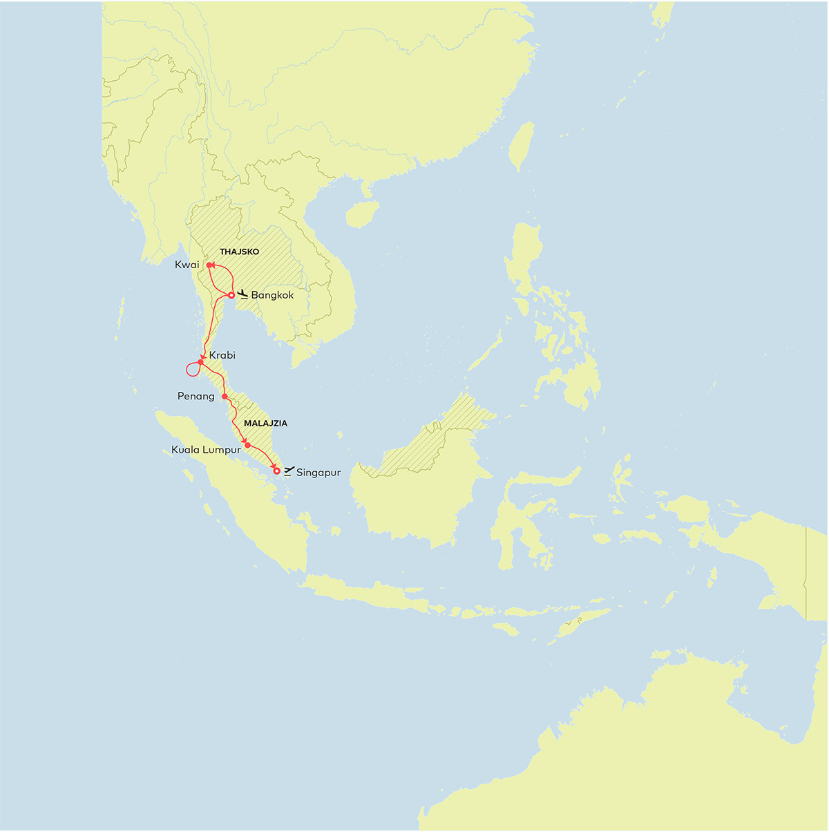 Mapa Thajsko Malajzia Singapur Relax