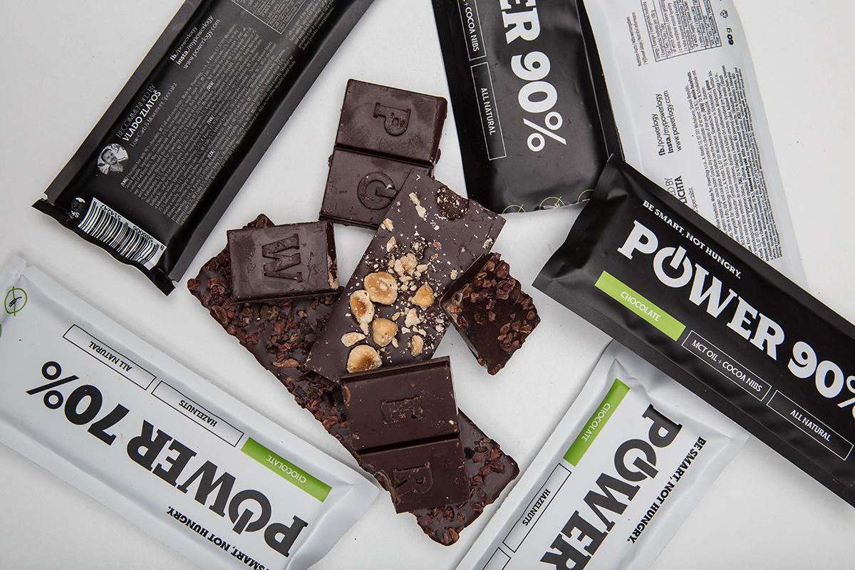 Čokoládová tyčinka s pozitívnymi účinkami - Power Choco Bar 90 %. Foto: Powerlogy