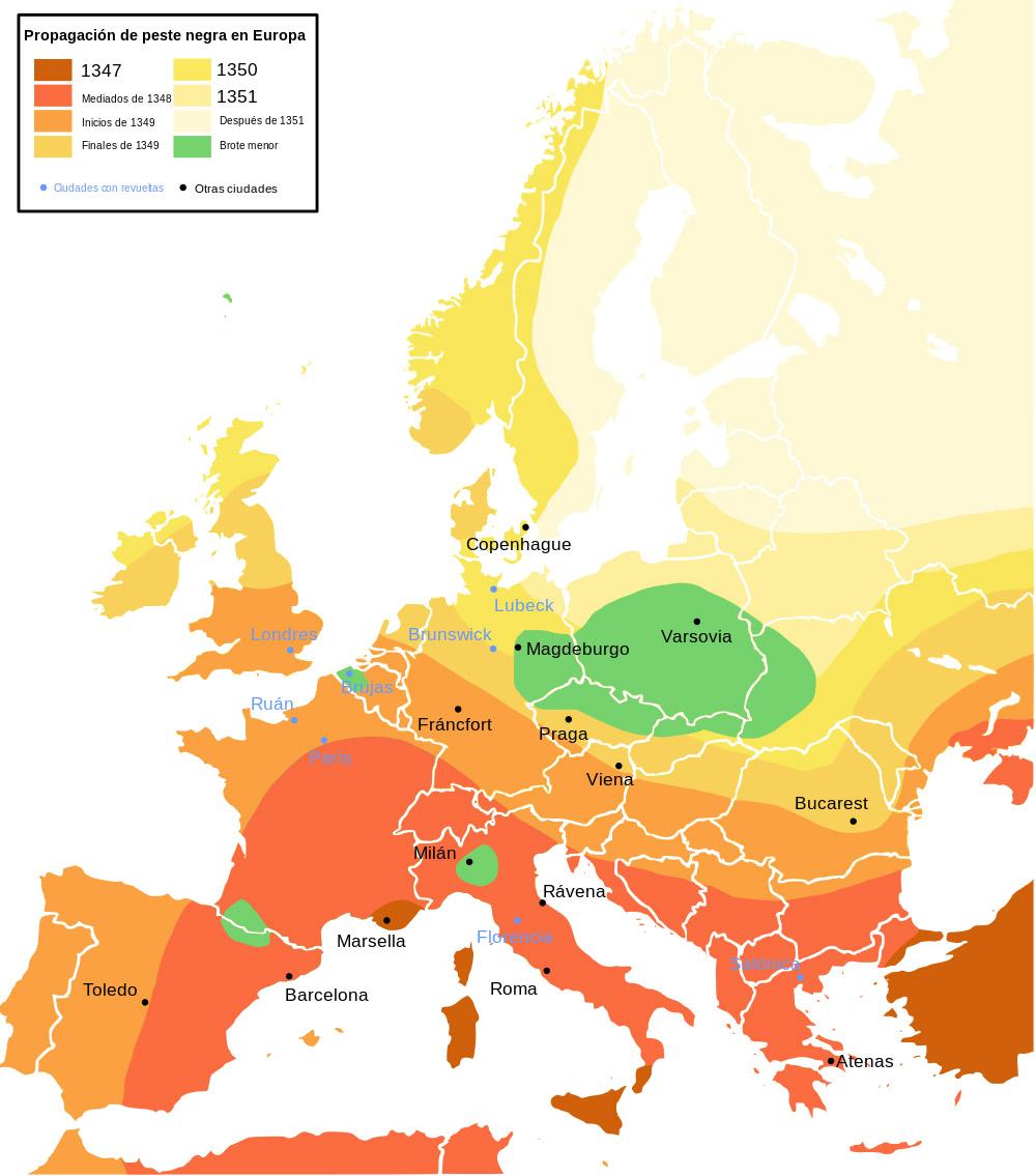 Zelený štvorček: Menej zasiahnutá alebo nezasiahnutá oblasť. Modrá bodka: Mestá, v ktorých vznikli nepokoje a povstania.