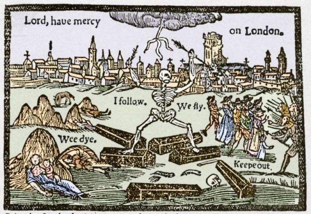 Dobová kresba znázorňujúca mor v Londýne.