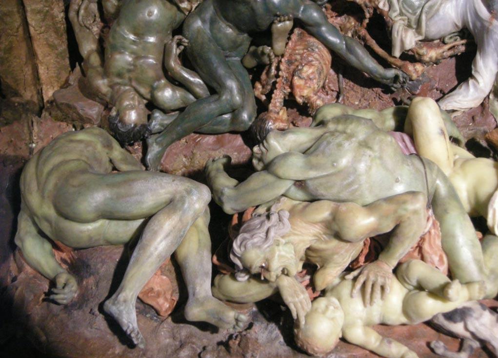 Voskové sochy vypovedajúce o čiernej smrti