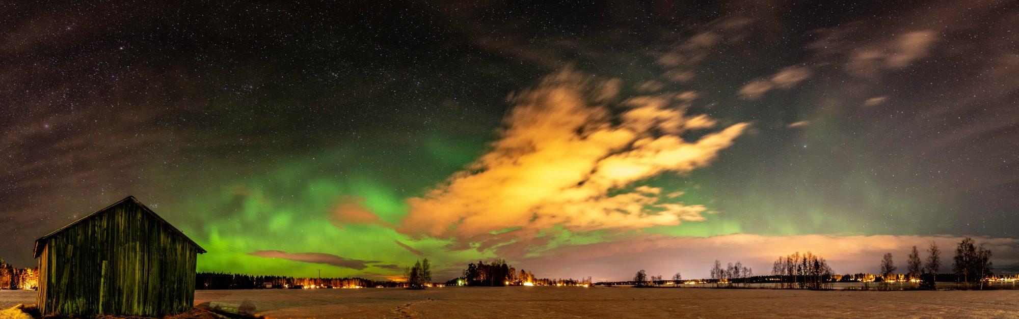 Polárna žiara vo Fínsku. EuroVelo 10. Foto: Shutterstock