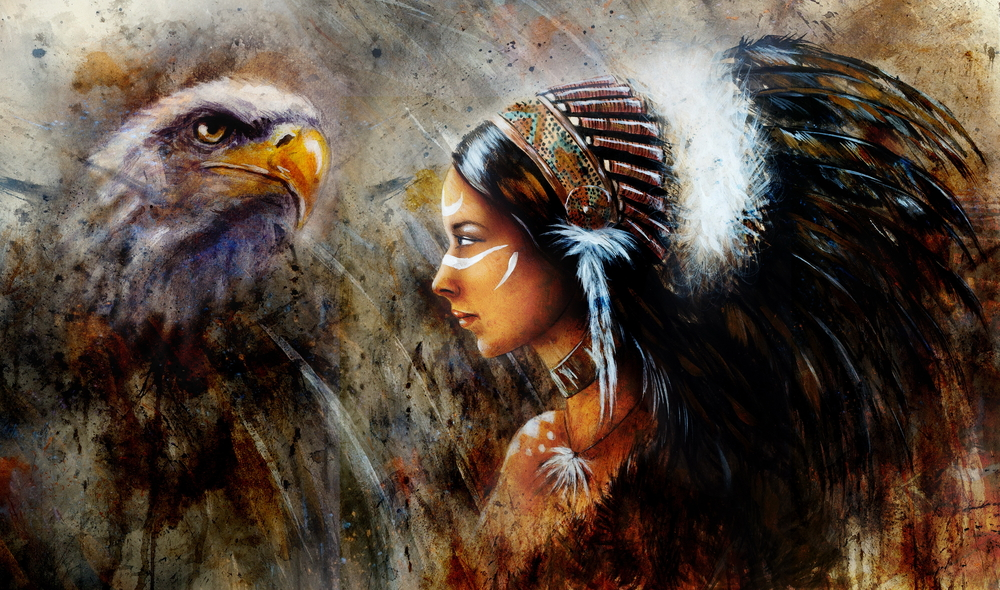 Indiánka s orlom. Foto: Shutterstock