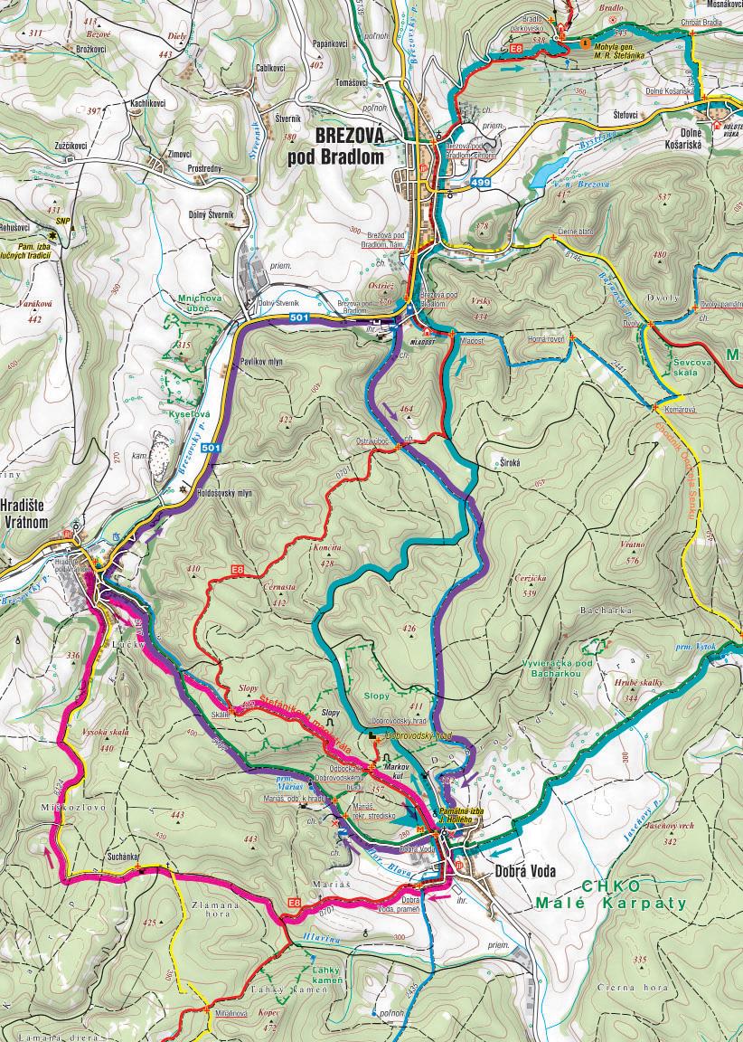 Mapa cyklotrás cez kopanice.