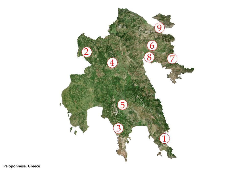 Približná mapa 9 významných miest na Peloponéze. Foto: Shutterstock