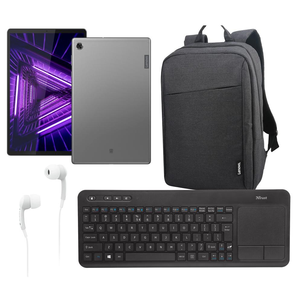 Tablet, klávesnica, slúchadlá s mikrofónom a odolný batoh Lenovo.